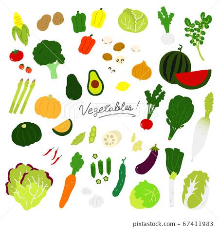 各種蔬菜[白色背景]的手繪插圖圖標 67411983