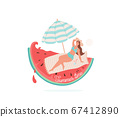 Summer time vector illustration. Beautiful smiling girl lie on litter under striped umbrella. Beach concept design with watermelon, wave, drops element and text. Isolated on white background 67412890