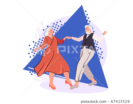 Senior couple dancing on abstract background. Cartoon elderly people in retirement. Age-old pensioners happy together illustration. Mature love isolated vector. Fun romantic hobby, cheerful family 67415529