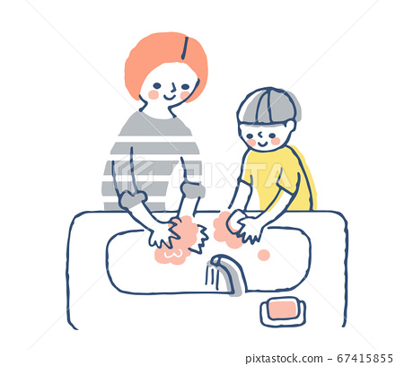 Mom and boy washing hands with soap 67415855