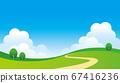 一片蓝天的草地景观的插图 67416236
