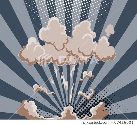Cartoon explosion effect with smoke. Colorful funny banner in comics book and pop art style. Comic book explosion bang on sunbeam striped background 67416601