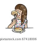 女孩用刀和叉吃热蛋糕 67418006