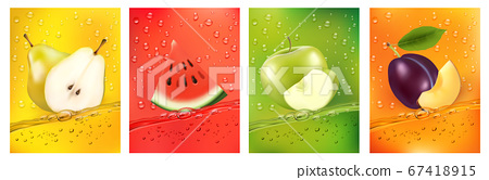 Fresh fruits juice splashing together- pear, 67418915