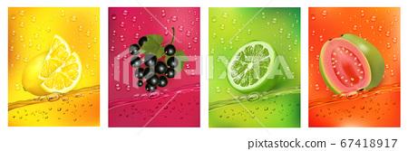 Fresh fruits juice splashing together- guava, 67418917