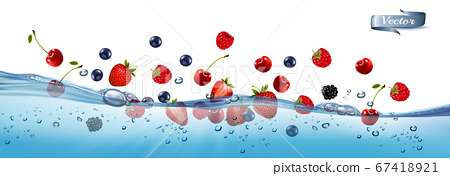 Fresh fruits and berries splashing in water waves 67418921