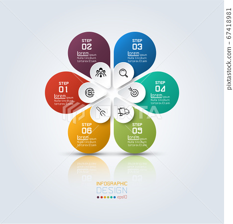 Colorful infographic six options with oval shape 67418981