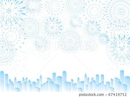 藍色漸變煙花城市景觀天際線 67419752