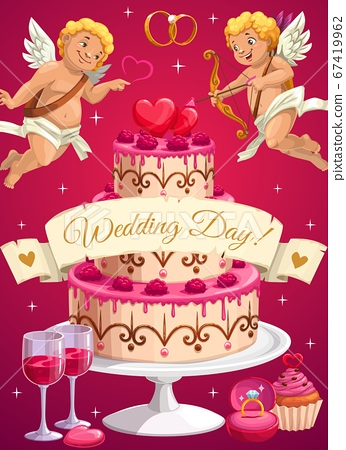 Wedding day cake and cupids, love hearts 67419962