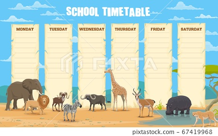 School timetable with african animals vector 67419968