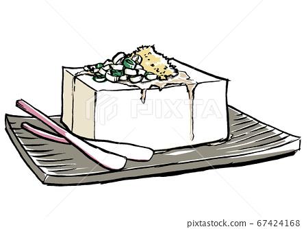 在帶有哈吉米生薑,毛筆繪畫和啞光塗層的方形板上冷盤 67424168