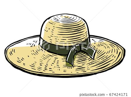 宽檐草帽,拉丝和磨砂漆 67424171