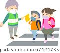 [帶面具]奶奶看著小學生在人行橫道上-沒有乾線,長袖,春天,秋天,冬天 67424735
