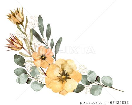 天然花朵和葉子的插圖素材 67424858