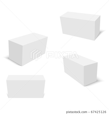 Set of white cardboard boxes mockups. Vector 67425126