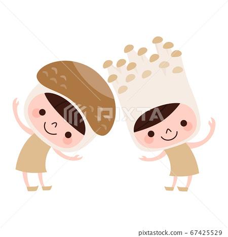 逗人喜愛的椎茸和Enoki字符的例證。 67425529