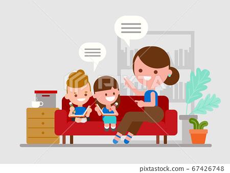 Mother teaching her children. Kids doing homework with parent. 67426748
