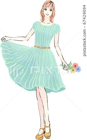 꽃을 가진 원피스 여성 67429094