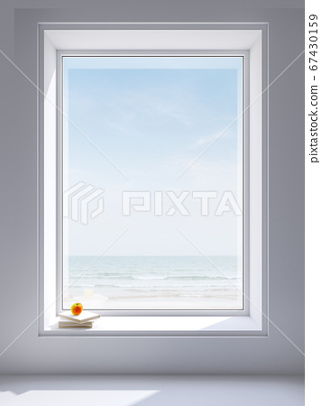 Large white window frame with sea view 3d render 67430159