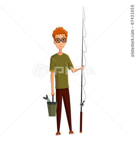 Young man with glasses, fishing rod and a bucket in his hands. Caught fish in a bucket. Successful fishing 67431058