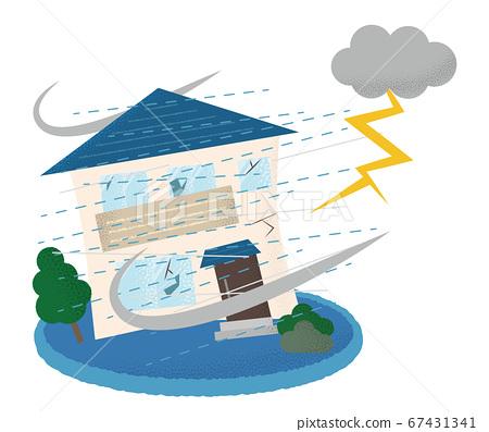 遭受雷暴房屋的矢量圖 67431341