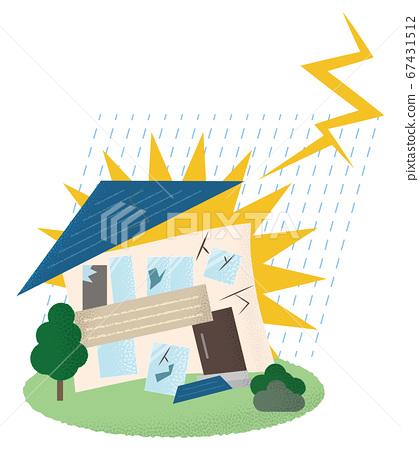 遭受雷擊的房屋矢量插畫 67431512