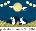 一隻兔子玩築地年糕的插圖 67433064