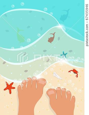pair of foot, sand beach 67435946
