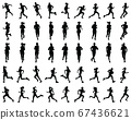 Black silhouettes of runners on a white background 67436621