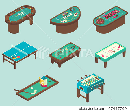 Table game vector flat isometric icon set 67437799