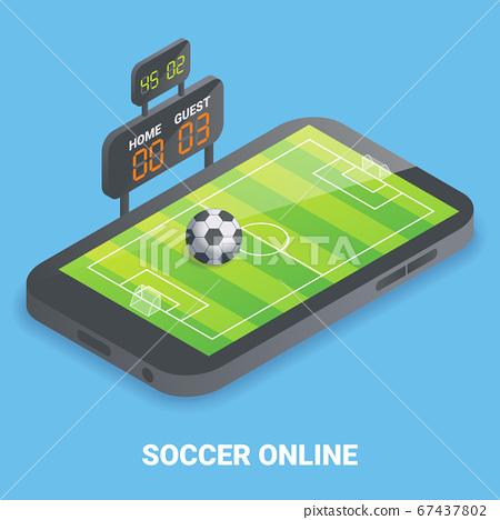Soccer online concept vector flat isometric illustration 67437802