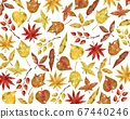 Background of various fallen leaves Watercolor style illustration 67440246