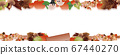 Illustration of cute halo and haunted autumn leaves and pumpkins and mushrooms banner material 67440270