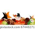Illustration of cute Halloween ghost and autumn leaves and stars on pumpkins and mushrooms background material 67440271