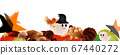 Illustration of a cute Halloween ghost and autumn leaves and stars on pumpkins and mushrooms banner material 67440272