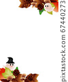 Illustration frame background material vertical with cute ghost of halo and autumn leaves and pumpkins and mushrooms 67440273