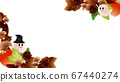 Illustration frame background material of cute ghost of halo and autumn leaves and pumpkins and mushrooms 67440274