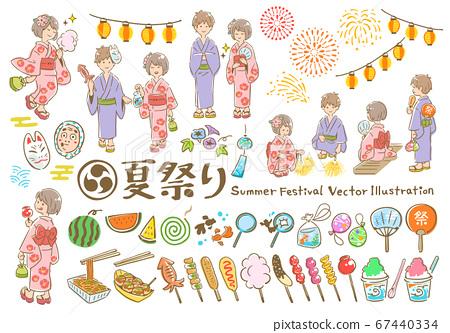 夏季節日手繪矢量插圖集 67440334