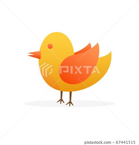 Bird flat on white background. Cute animal set. Animal cartoon character set. Vector stock illustration. 67441515