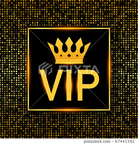 Golden symbol of exclusivity, the label VIP with glitter. Very important person - VIP icon on dark background Sign of exclusivity with bright, Golden glow. Vector stock illustration. 67441592