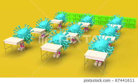The virus siting in the classroom  3d rendering 67441611