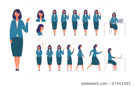 Illustrations of working women in various body poses Women in suits that work, stand, run, sit, walk 67441985