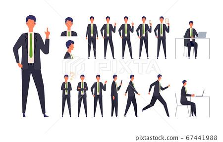 插圖的商人在不同的身體姿勢穿著西裝的男人站著,奔跑,坐著和走 67441988