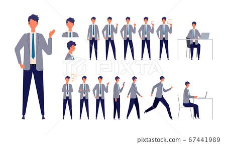 다양한 전신 포즈 사업가의 일러스트 작업, 서 달리는 앉아 걸을 슈트를 입은 남자 67441989