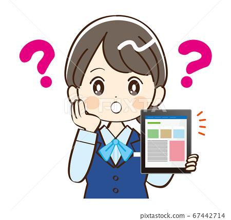 女人,銀行業務員,平板電腦,懷疑 67442714