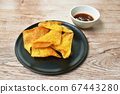 crispy fried dumpling paste dipping sweet chili sauce on plate 67443280