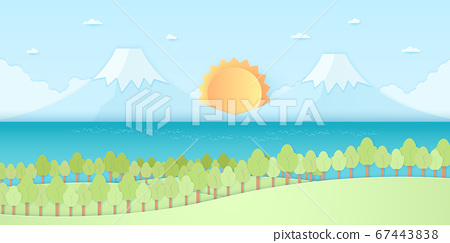 Nature hill, mountain and sea, trees with sun and blue sky, paper art style 67443838