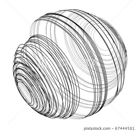 Sphere of spirals outline 67444581