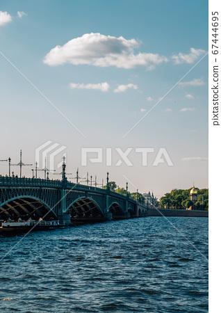 Trinity Bridge and Neva River in Saint Petersburg, Russia 67444695