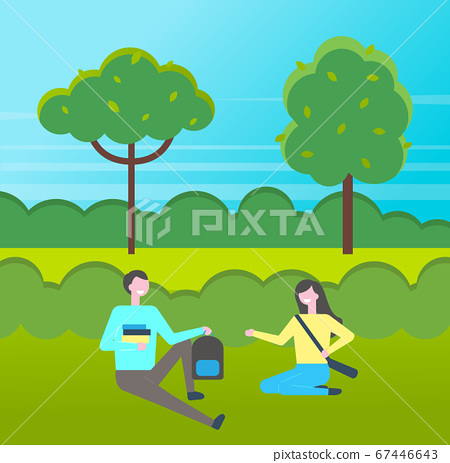 Young students with book sitting at grass in park, couple of girl and guy studying outdoors 67446643